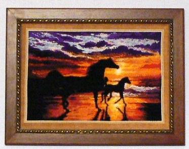 лошади на закате. Животные