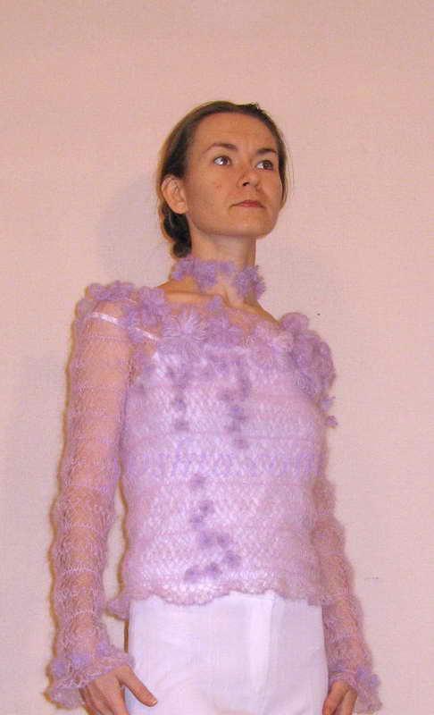 Вязание на вилке 'Ночные грёзы - Долина фиалок'. Одежда