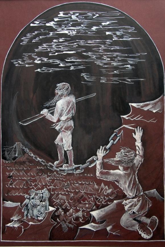 Книжная иллюстрация. 'Запечатленный ангел', Лесков.. Рисунок