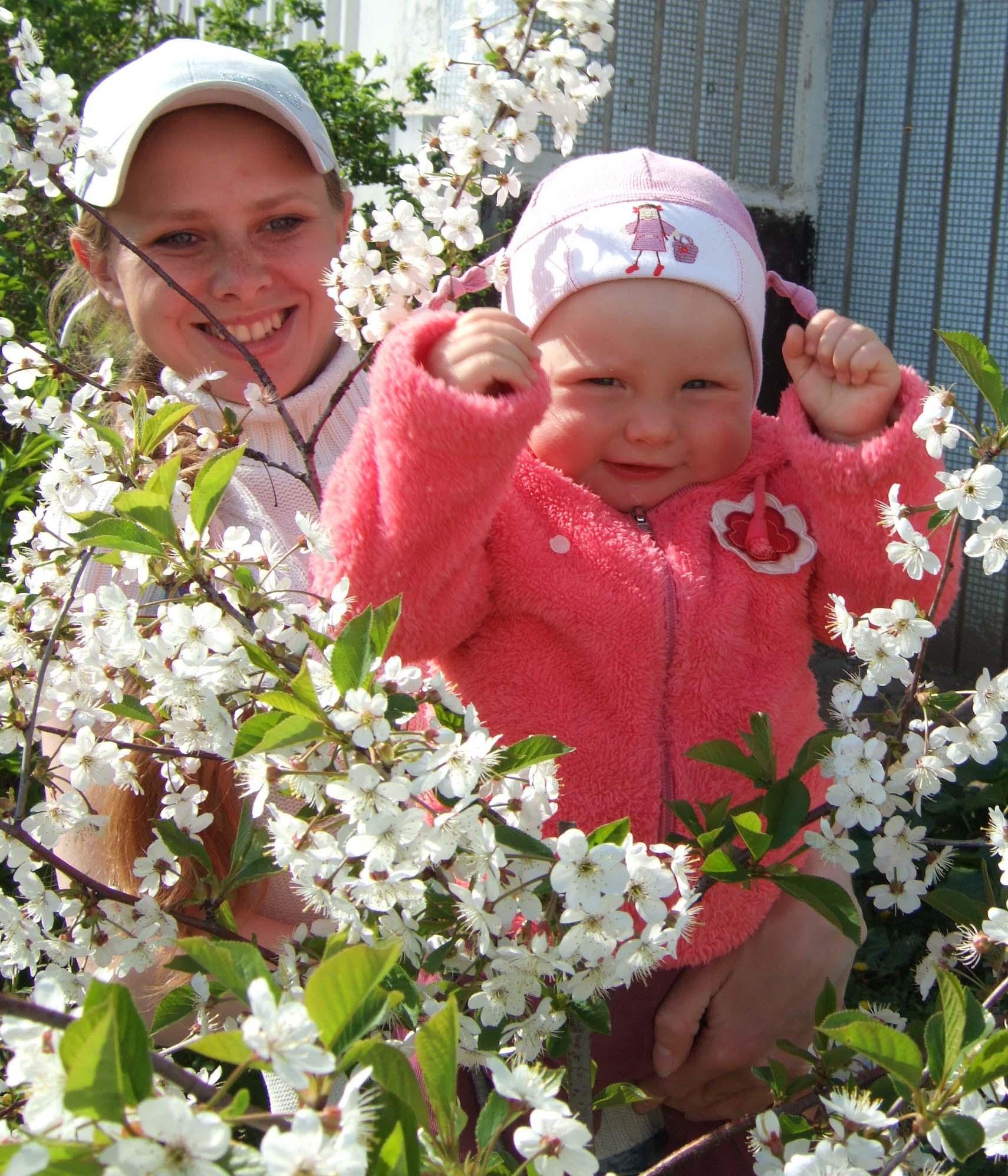 Среди цветов одна зрелая вишенка. Цветы жизни