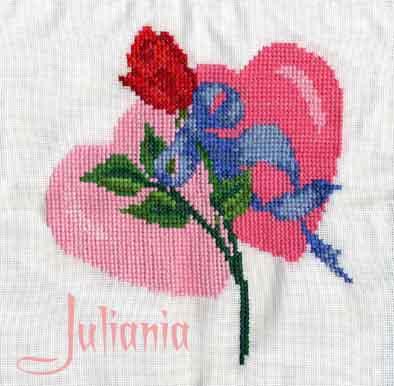 037_два сердца и роза. Вышитые валентинки