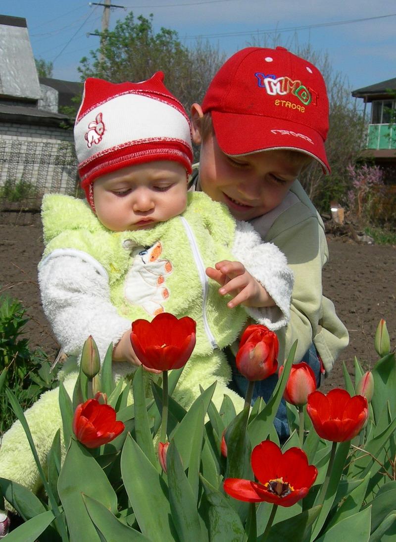 сестренка, смотри, какие красивые цветы!. Братишки и сестренки