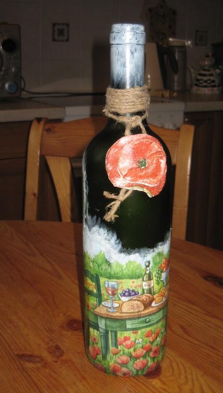 бутылка 'дачная'. Декупаж