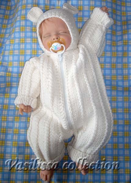 Вяжем для новорожденного 0-3 месяцев: костюмы спицами, идеи 42