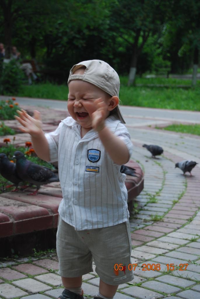 Илюша в восторге от голубей. Эмоции
