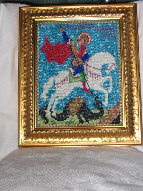 Святой Георгий Победоносец. Вышивка бисером