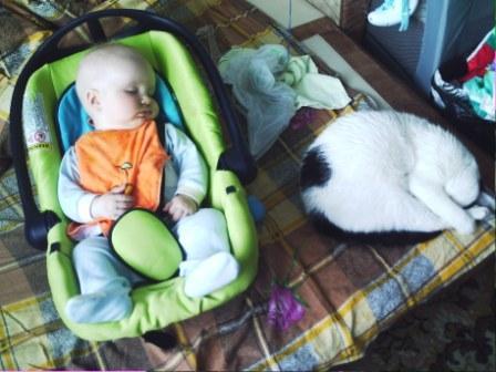 Лексейка спатушки с Малышочком!. Мой усатый-полосатый