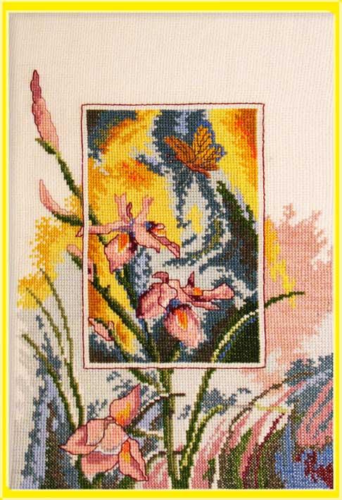 059_Ирисы с бабочкой. Растения (в основном цветы)