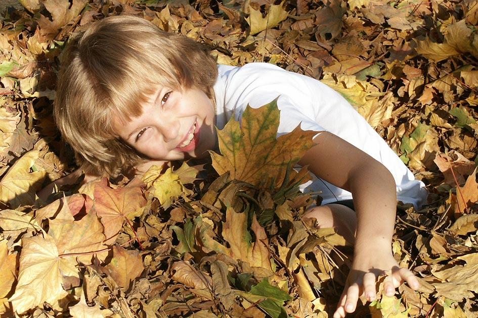 В 'стогу' осенних листьев.... Время улыбаться