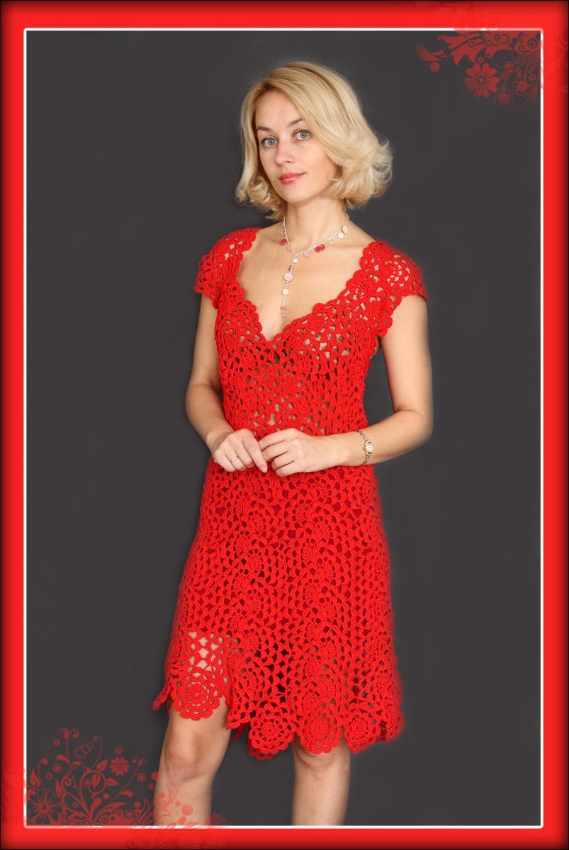Платье 'Соблазн' связано на заказ.. Вязание крючком