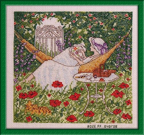 060_вышивальщица в саду. Женские образы
