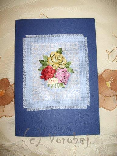 Открытка с цветами. Вышитые открытки