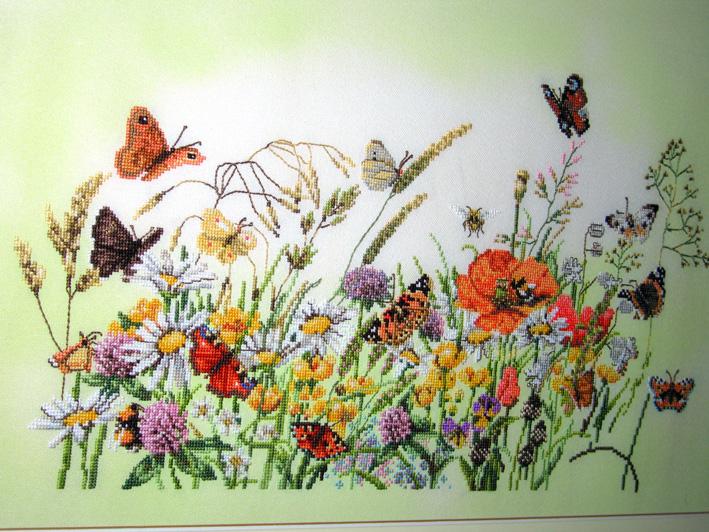 'Бабочки на лугу' (34359) by Lanarte (Marjolein Bastin). Растения (в основном цветы)