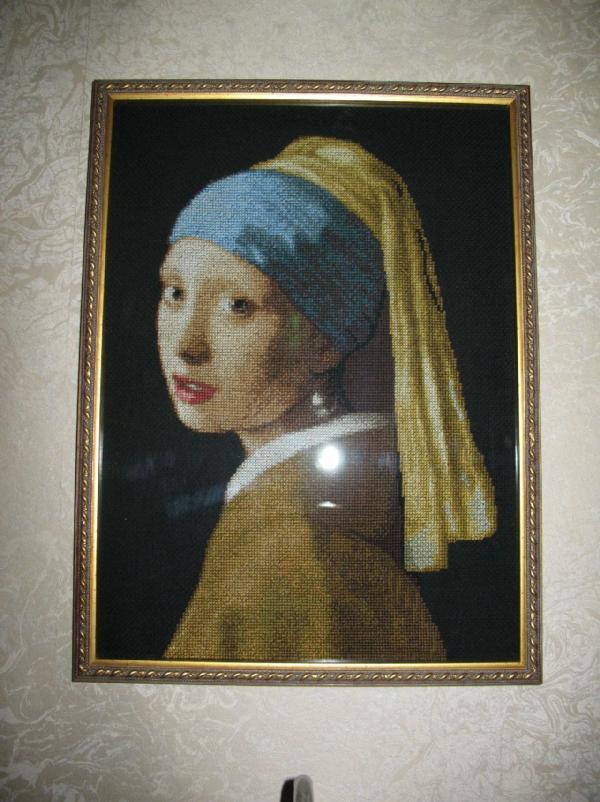 Вышивка девушки с жемчужной сережкой 866