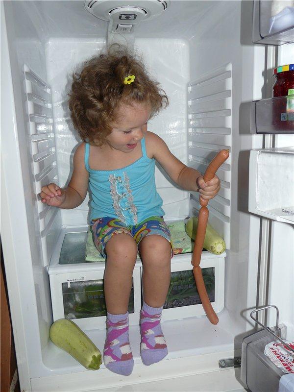 В холодильнике совсем не холодно и еды много. Маленькие исследователи