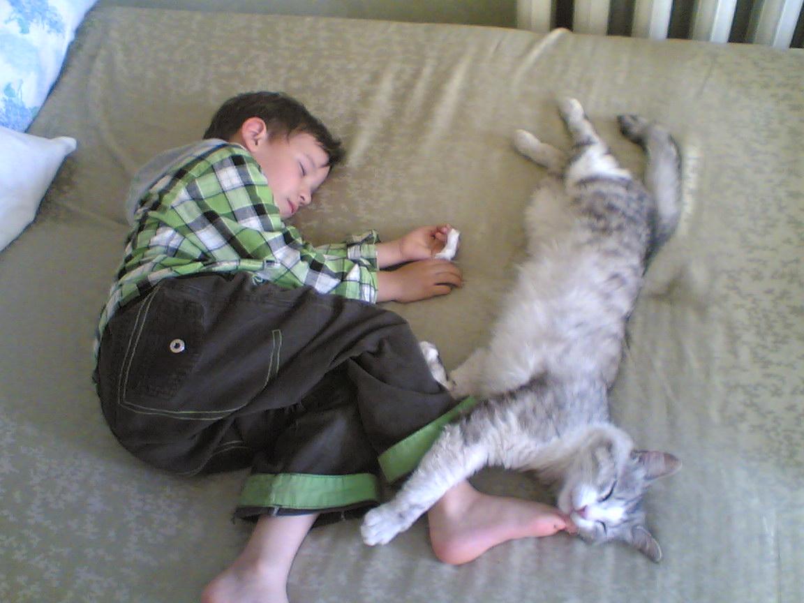 всё делаем вместе, даже спим.... Ребенок и   котенок
