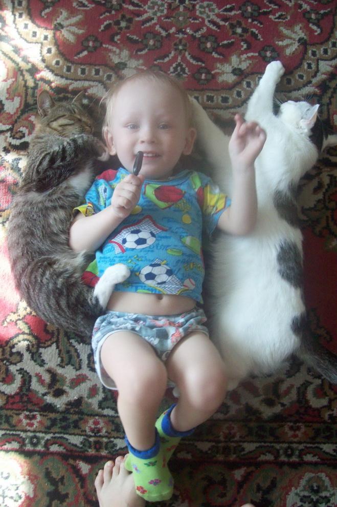 Мои лучшие друзья-Масяня и Стефания. Ребенок и   котенок