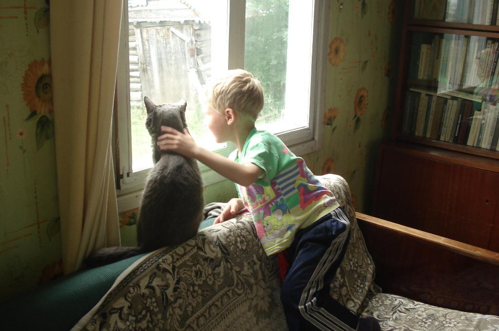 Приди скорее,  мама.... Ребенок и   котенок