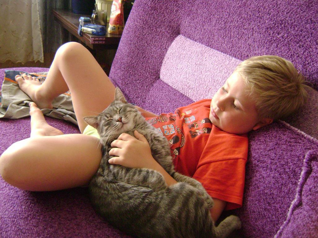а у нас тихий час.... Ребенок и   котенок