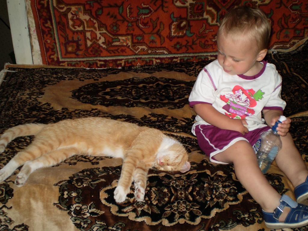 Эй,друг, не спи!Подкрепились и за работу!. Ребенок и   котенок