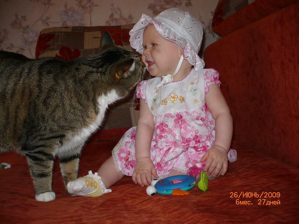 С кисой. Ребенок и   котенок