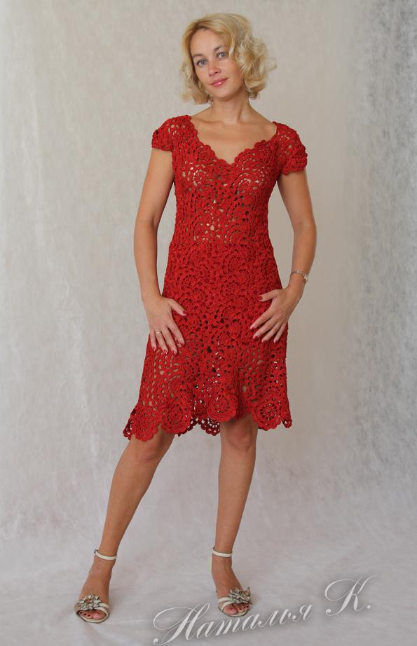 Платье 'Соблазн' связано на заказ. Вязание крючком