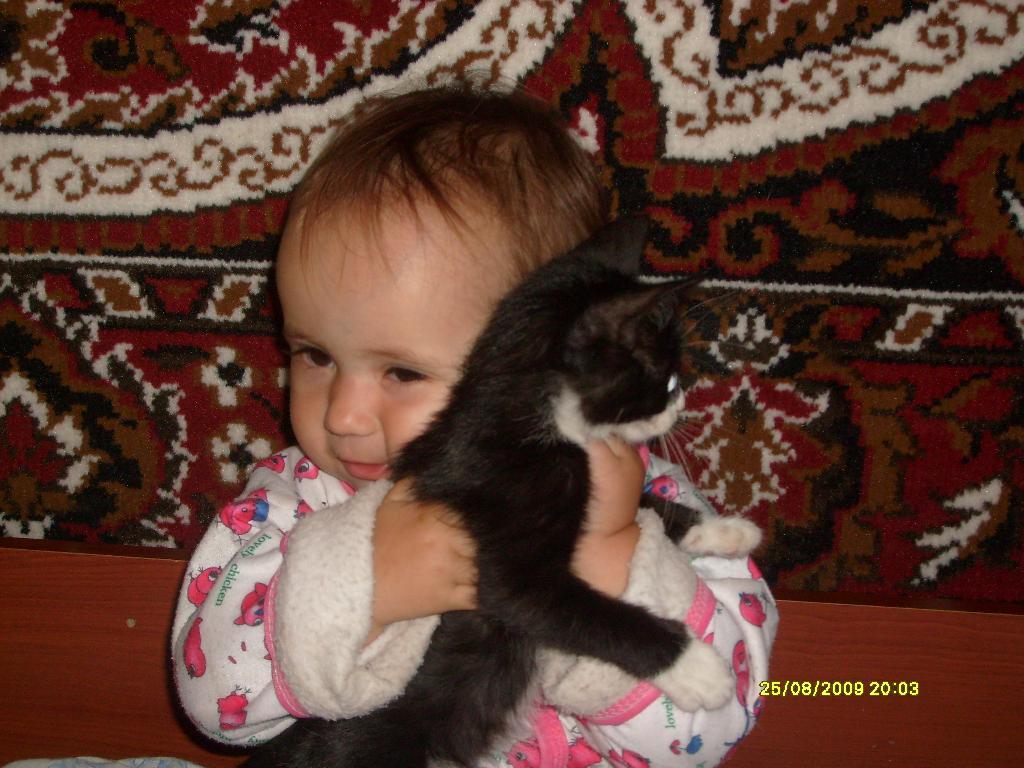 Киска. Ребенок и   котенок
