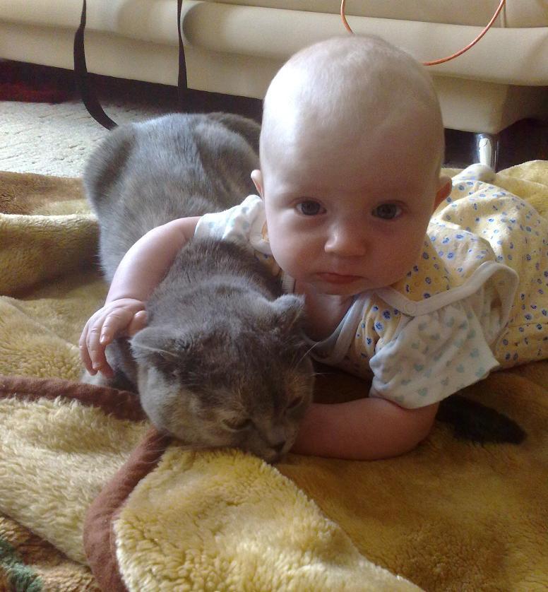 Аришка и Мишелька. Ребенок и   котенок