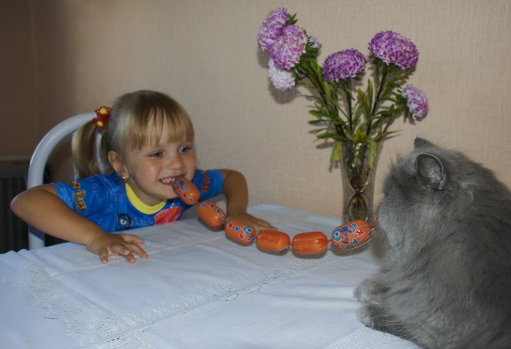 """Завтракать начинаем по команде """"Мяу""""!. Ребенок и   котенок"""