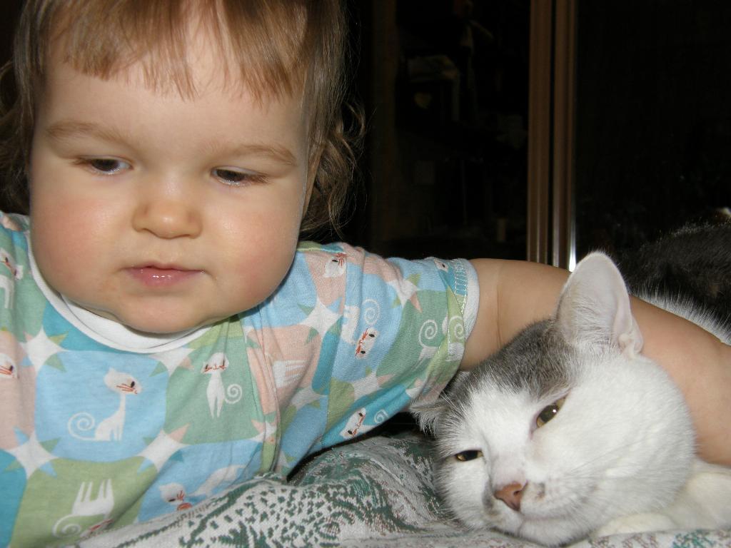 Варвара и Фибулечка. Ребенок и   котенок