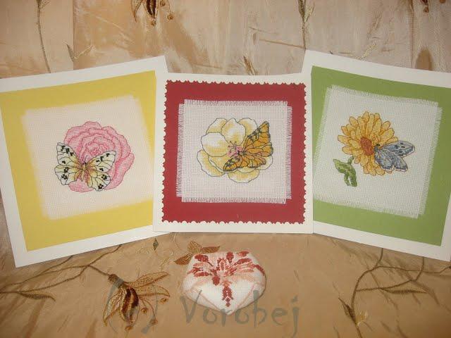 открытки с цветами. Вышитые открытки
