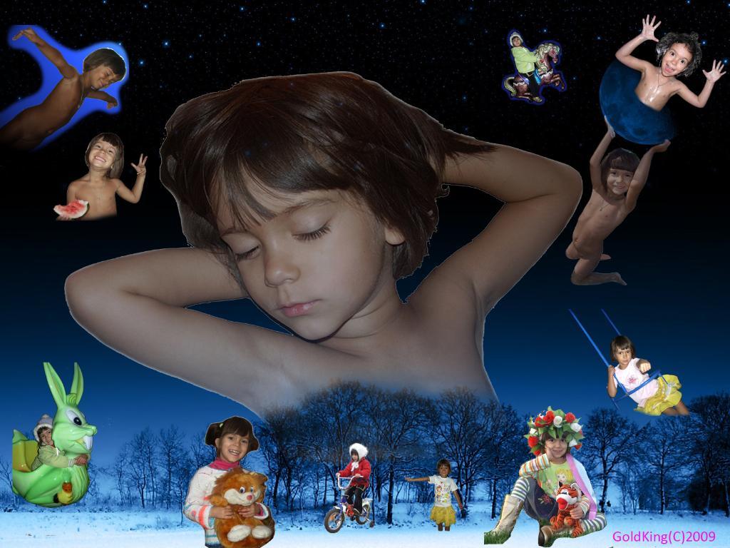 Волшебное царство детского сна.. Фотоколлажи, обработанные фото