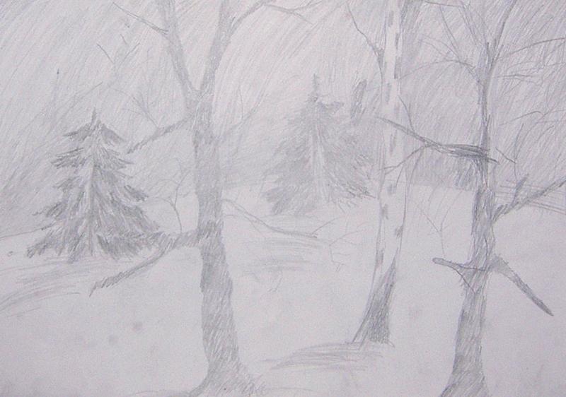 Рисунок вьюги карандашом