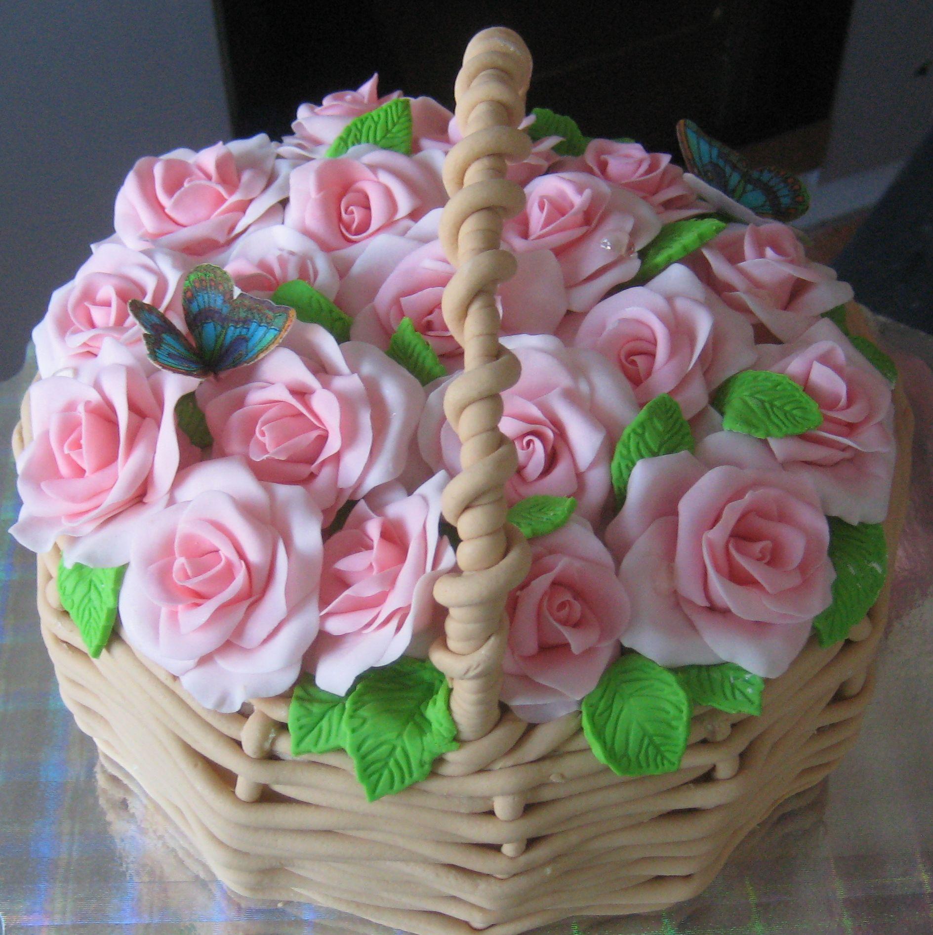 торт корзинка роз кремовый фото который используем шапке