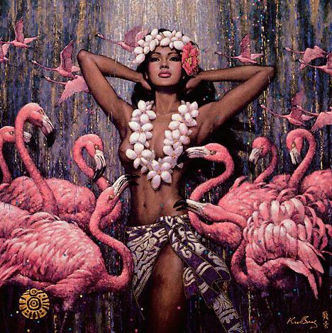 девушка и фламинго. Женские образы