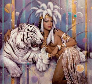 девушка с тигром. Женские образы