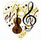 сердечко скрипка. Вышитые валентинки