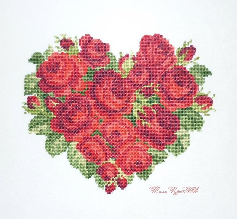 Сердце из роз EMS. Подарок мужу к розовой свадьбе. Вышивка - Мои работы