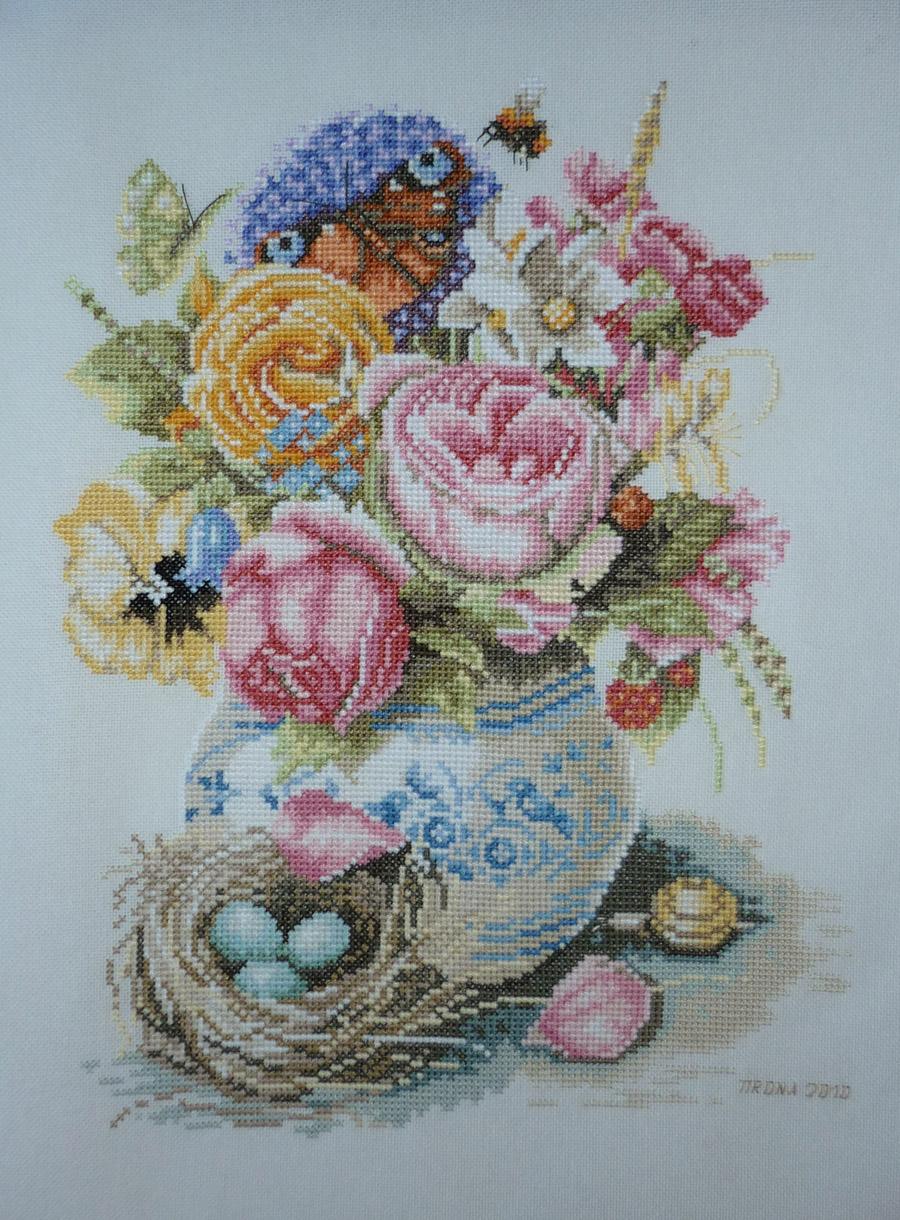 Ланарте 34996 Розы в фаянсовой вазе. Вышивка - Мои работы