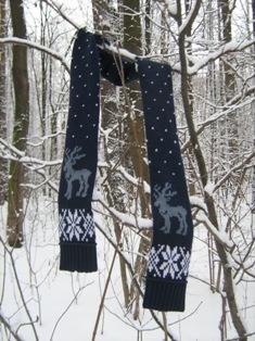 Шарф со скандинавским рисунком.. Пончо, шали, палантины, шарфы
