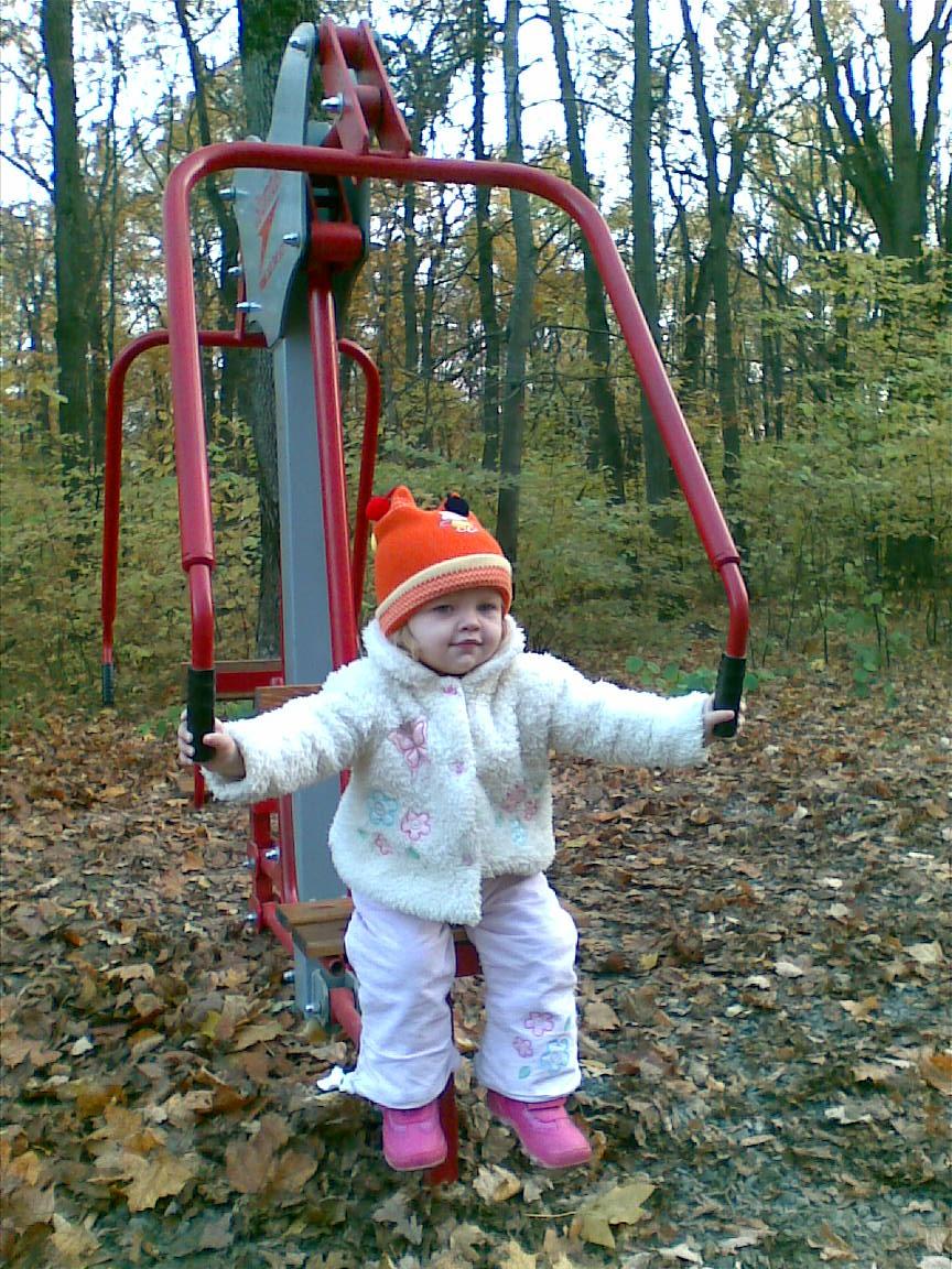 Занятие на тренажере в осеннем лесу.