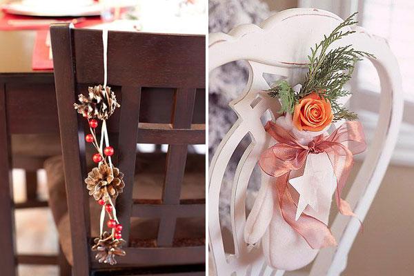 Оформление новогоднего стола: украшения на стулья. Идеи поделок своими руками