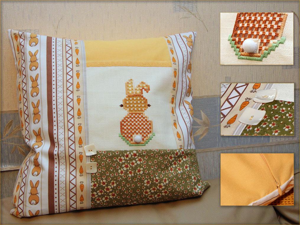 Апрельская подушка. Диванные подушки с вышивкой и без