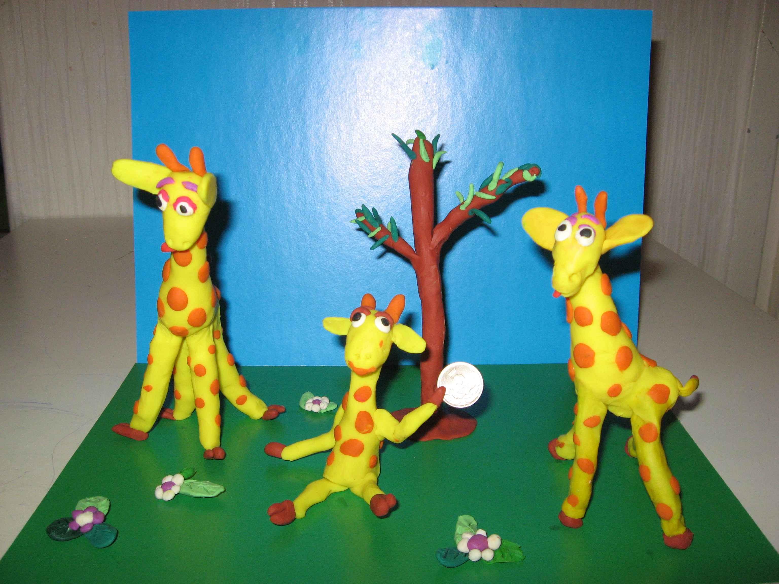 Семья жирафов . Секреты пластилина