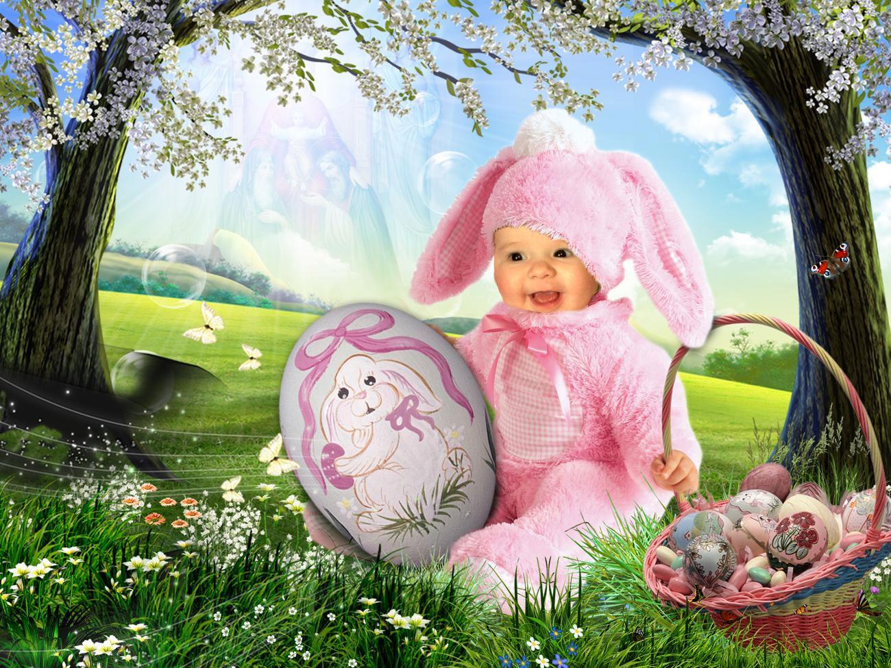 Розовый зайчик. Фотоколлажи, обработанные фото