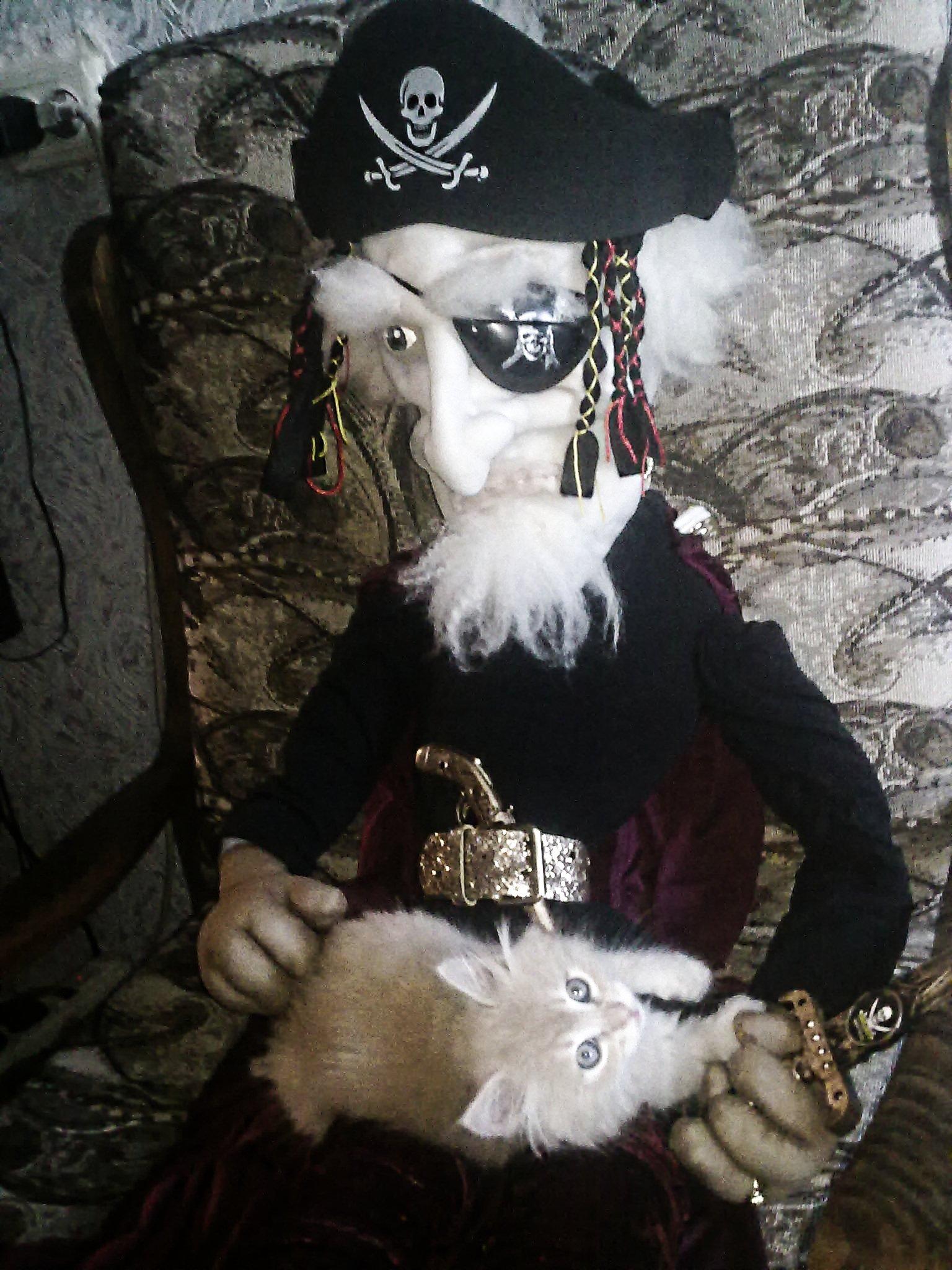 Пират баюкает Пушка. Самодельные игрушки