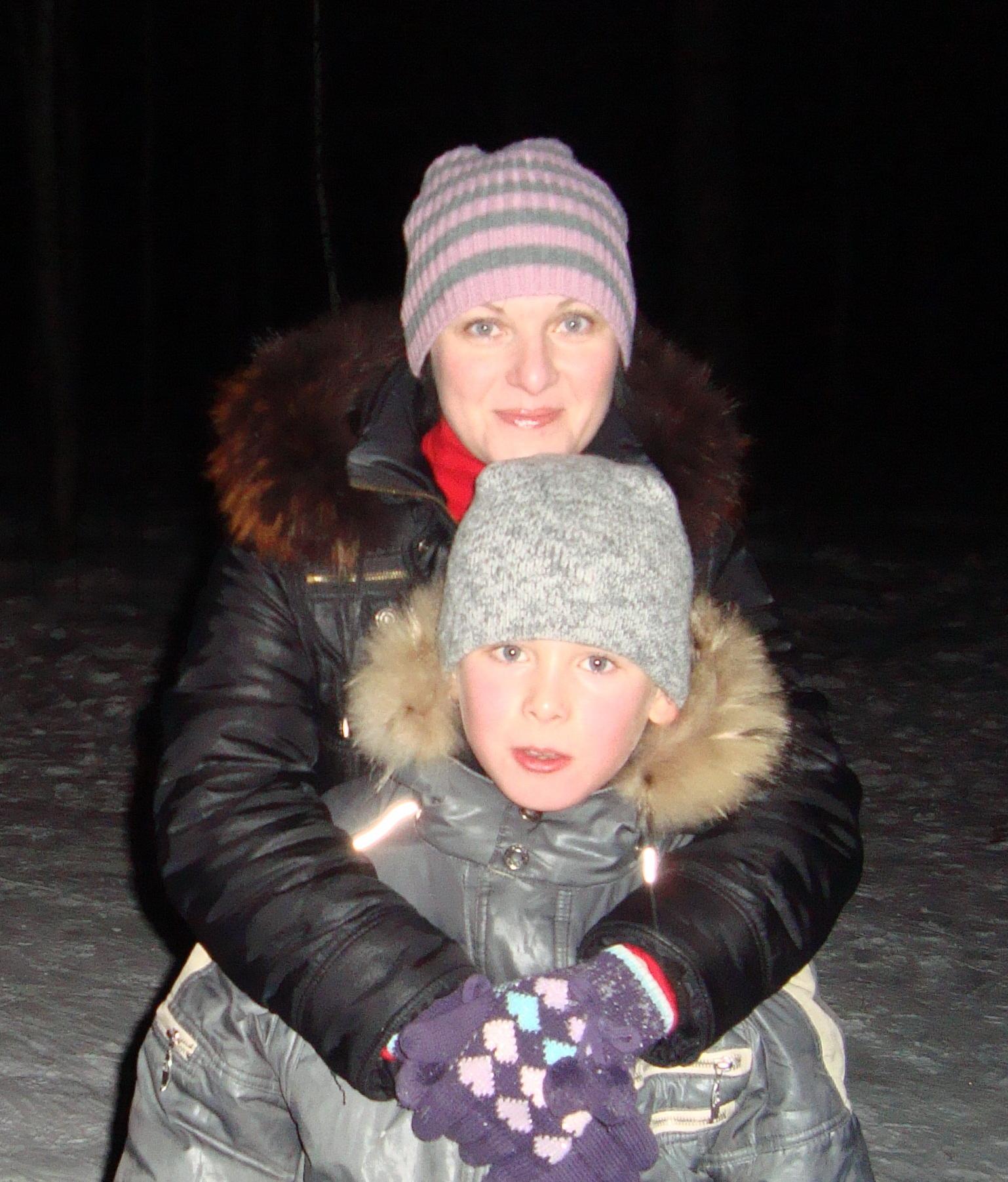 в лесу. Вместе с мамой