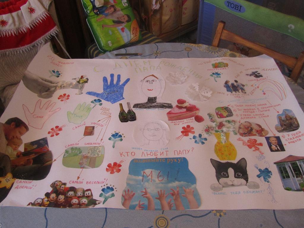 Бумаги белой, рисунок своими руками на день рождения папе от дочки
