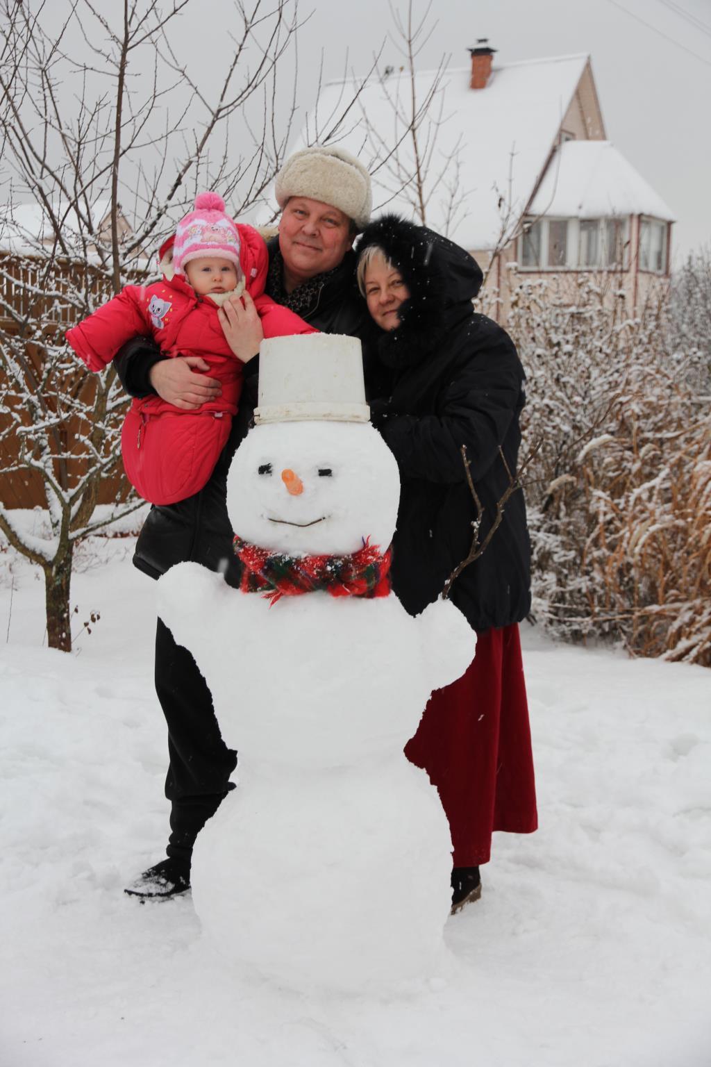 Первый снеговик . В гостях у снеговиков