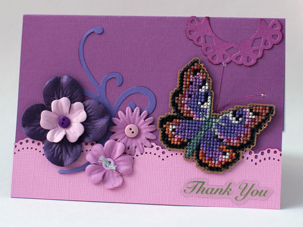 И снова бабочка. Вышитые открытки